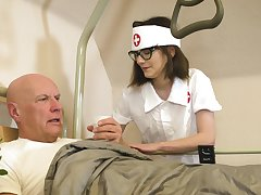 Doting nurse Sara Siren takes fantastic care of an old seducing