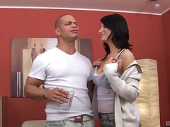 Dude with a fat dick fucks natural tits brunette Doreen matey