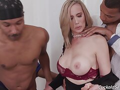 Nasty wife gets triple penetrated by black dudes - Lilly James