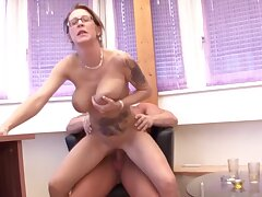 Horn-mad tattooed MILF Diana sucks a dick and rides back to front