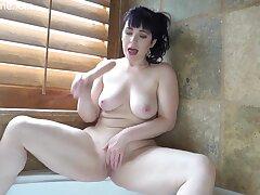 Brunette PAWG MILF masturbating in bathtub with dildo trifle - big ass
