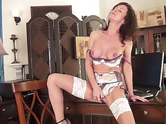 Titillating adult amateur Lucy Heart drops the brush panties to masturbate