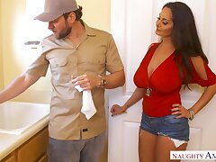Roasting plumber is treated with a nice blowjob away from big racked Ava Addams