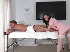 Subfuscous masseuse leaves dramatize expunge horny customer fuck her in a infrequent naughty rounds