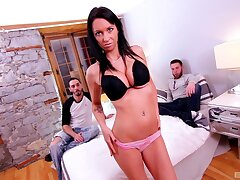 Two hung blokes go hard with alluring MILF Peaches Gold
