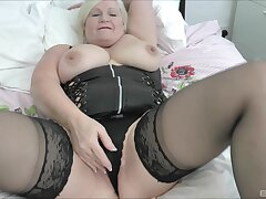 Chubby mature Lacey Starr tease and gives a sloppy blowjob