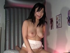 Natural boobs Kyoko Maki enjoys getting fucked on the herbaceous border