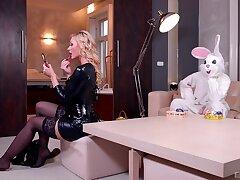 Blonde encircling a black lingerie, insane judicature XXX far a bunny leman boy