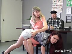A Double Caning for superb Sabina Hero in Shorts Jeans