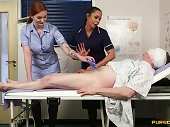 Naughty nurses Angelina Elise with the addition of Zara Du Rose suck a locate