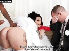 Boda - Denise milani in interracial bridal gangbang with cum on high breast