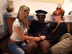 Baleful officer gets pleasured by horny sluts Annabelle and Red