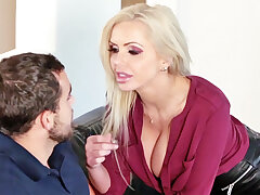 Crazy wifey with ample hooters seduced her stepson for fuck-a-thon